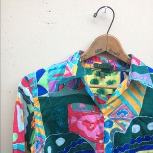 Beautiful Bright Multicolor Button Up Blouse Top